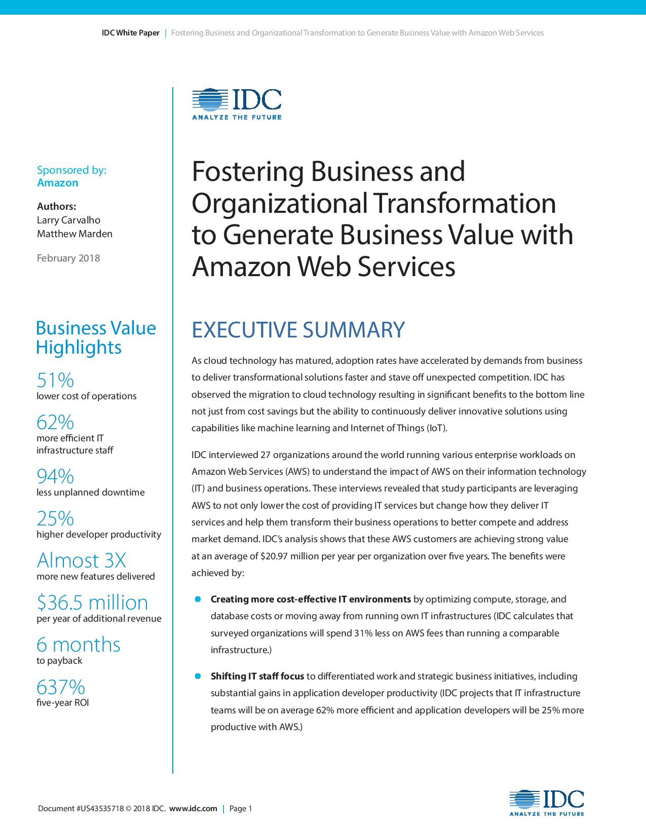 Fostering Business And Organizational Transformation To Generate Business Value With Aws